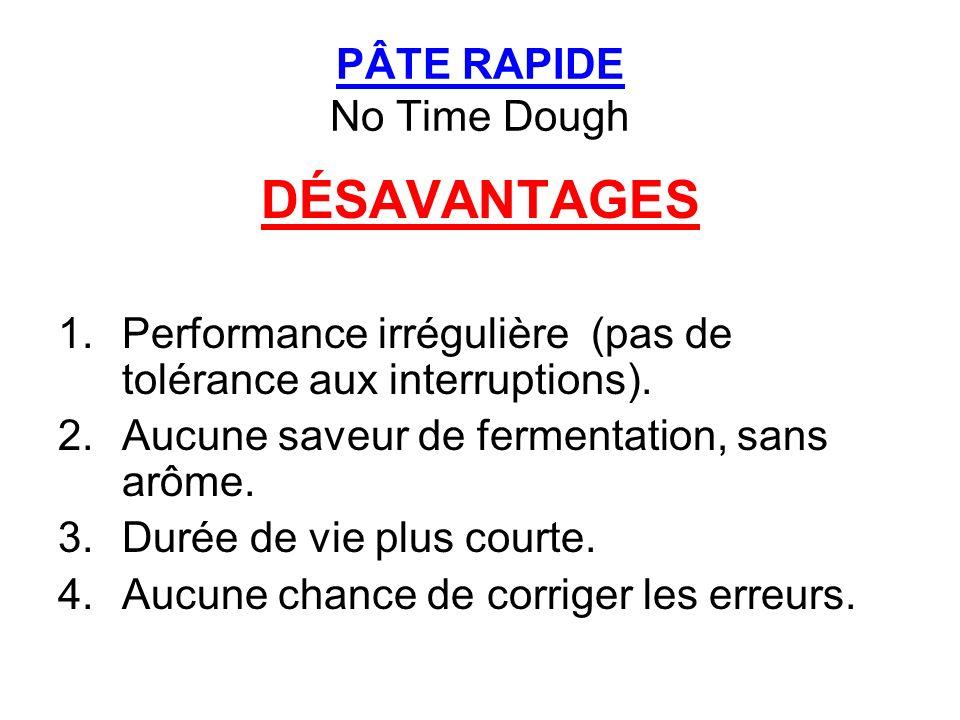 PÂTE RAPIDE No Time Dough DÉSAVANTAGES 1.Performance irrégulière (pas de tolérance aux interruptions). 2.Aucune saveur de fermentation, sans arôme. 3.