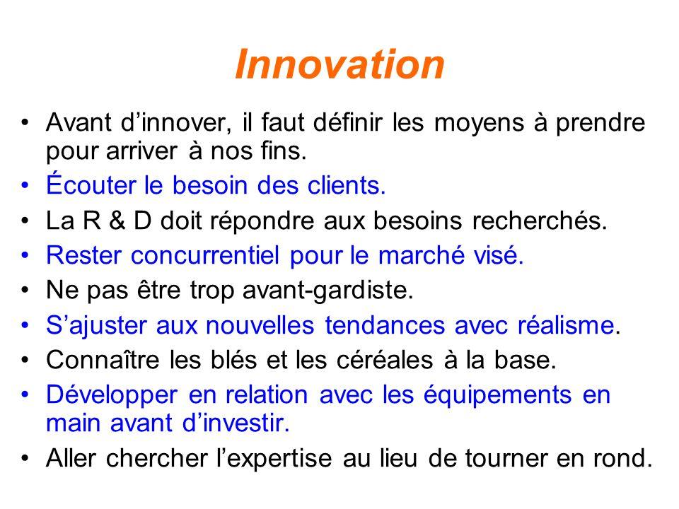 Innovation Avant dinnover, il faut définir les moyens à prendre pour arriver à nos fins. Écouter le besoin des clients. La R & D doit répondre aux bes