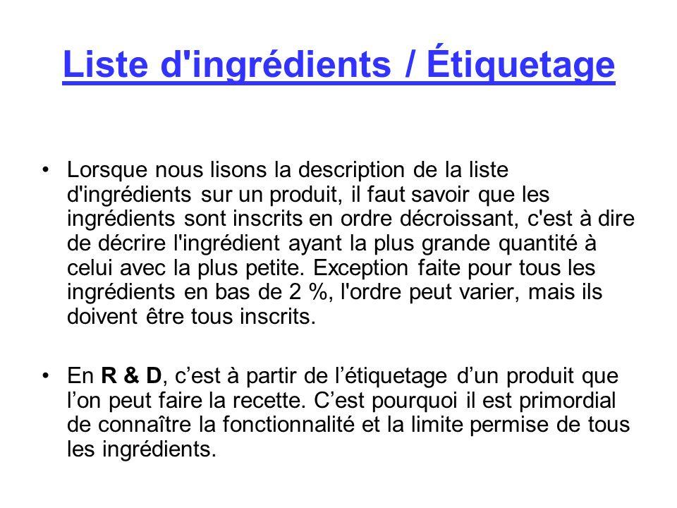 Liste d ingrédients / Étiquetage Lorsque nous lisons la description de la liste d ingrédients sur un produit, il faut savoir que les ingrédients sont inscrits en ordre décroissant, c est à dire de décrire l ingrédient ayant la plus grande quantité à celui avec la plus petite.