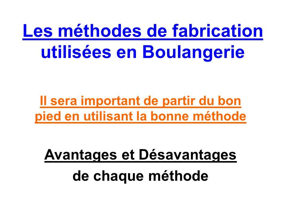 Les méthodes de fabrication utilisées en Boulangerie Il sera important de partir du bon pied en utilisant la bonne méthode Avantages et Désavantages de chaque méthode
