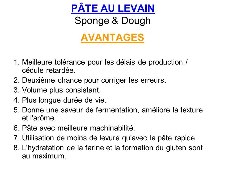 PÂTE AU LEVAIN Sponge & Dough AVANTAGES 1.Meilleure tolérance pour les délais de production / cédule retardée. 2.Deuxième chance pour corriger les err