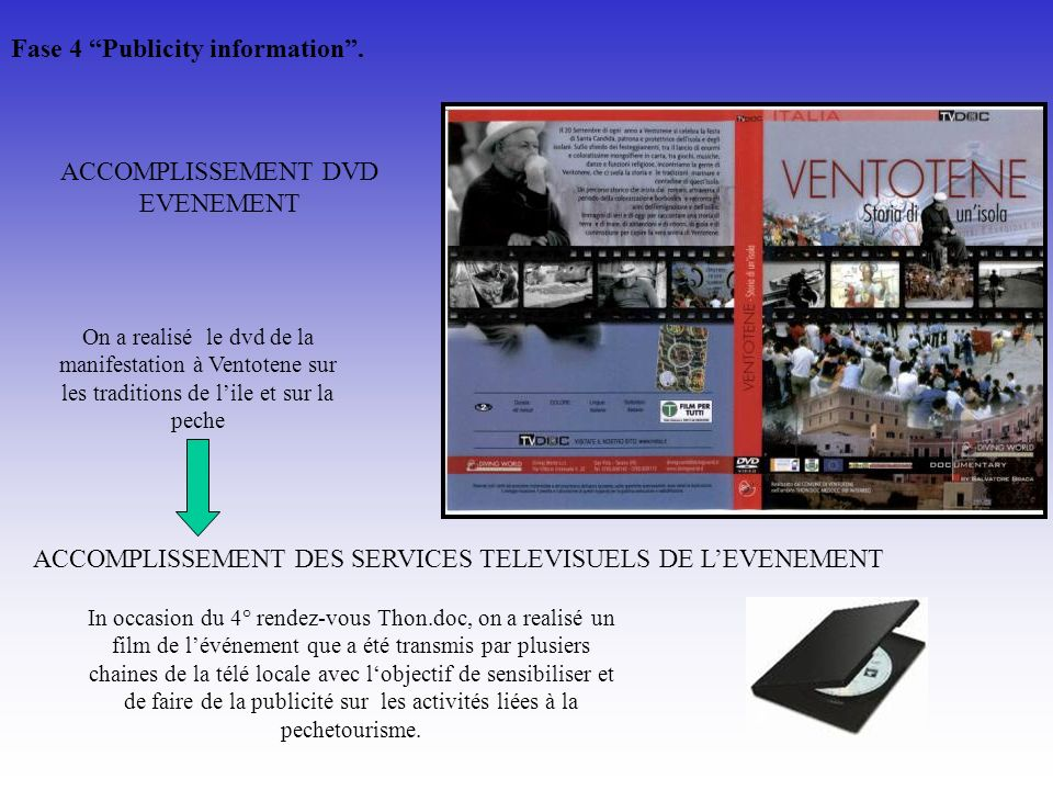 ACCOMPLISSEMENT DES SERVICES TELEVISUELS DE LEVENEMENT ACCOMPLISSEMENT DVD EVENEMENT On a realisé le dvd de la manifestation à Ventotene sur les tradi
