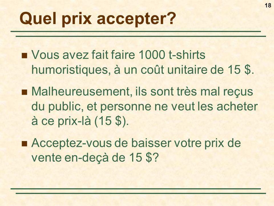 18 Quel prix accepter? Vous avez fait faire 1000 t-shirts humoristiques, à un coût unitaire de 15 $. Malheureusement, ils sont très mal reçus du publi