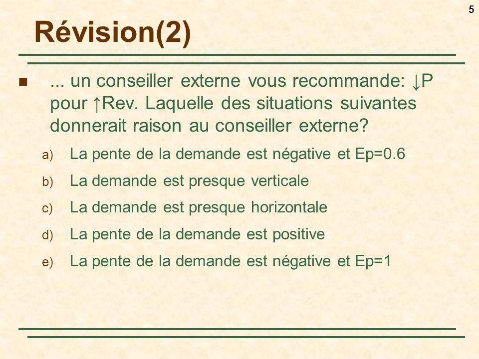5 Révision(2)... un conseiller externe vous recommande: P pour Rev. Laquelle des situations suivantes donnerait raison au conseiller externe? a) La pe