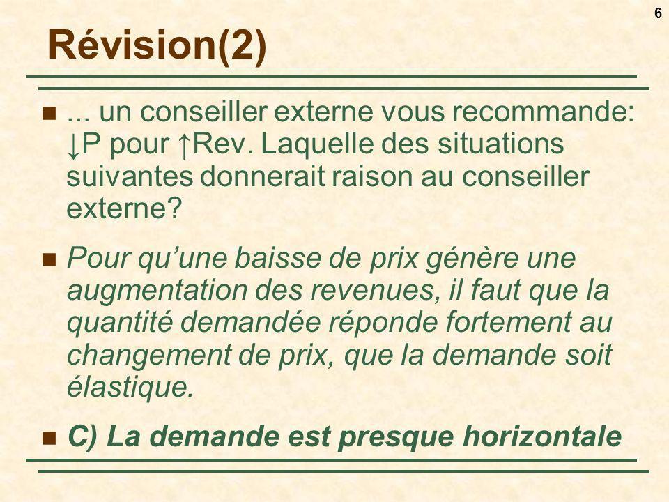 6 Révision(2)... un conseiller externe vous recommande: P pour Rev. Laquelle des situations suivantes donnerait raison au conseiller externe? Pour quu