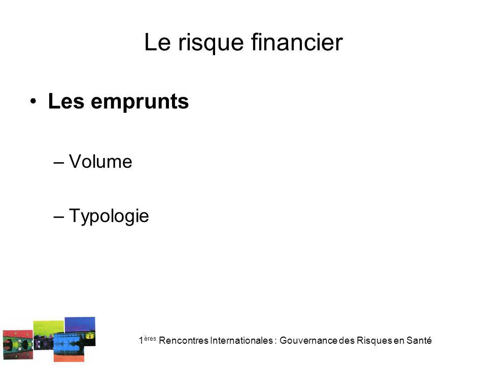 1 ères Rencontres Internationales : Gouvernance des Risques en Santé Le risque financier Les emprunts –Volume –Typologie