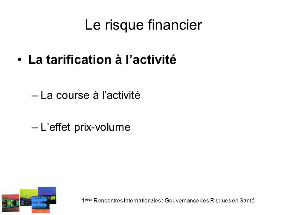 1 ères Rencontres Internationales : Gouvernance des Risques en Santé Le risque financier La tarification à lactivité –La course à lactivité –Leffet prix-volume