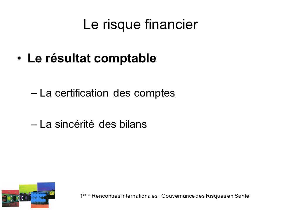 1 ères Rencontres Internationales : Gouvernance des Risques en Santé Le risque financier Le résultat comptable –La certification des comptes –La sincé