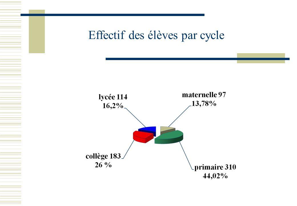Effectif des élèves par cycle