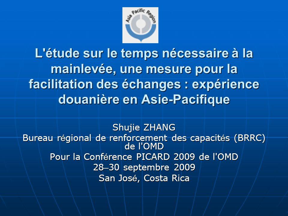 L'étude sur le temps nécessaire à la mainlevée, une mesure pour la facilitation des échanges : expérience douanière en Asie-Pacifique Shujie ZHANG Bur