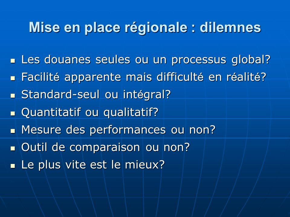 Mise en place régionale : dilemnes Les douanes seules ou un processus global? Les douanes seules ou un processus global? Facilit é apparente mais diff