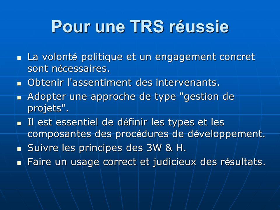 Pour une TRS réussie La volont é politique et un engagement concret sont n é cessaires. La volont é politique et un engagement concret sont n é cessai