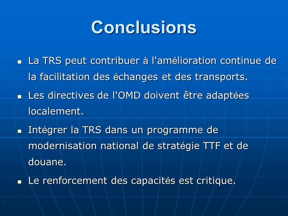 Conclusions La TRS peut contribuer à l'am é lioration continue de la facilitation des é changes et des transports. La TRS peut contribuer à l'am é lio