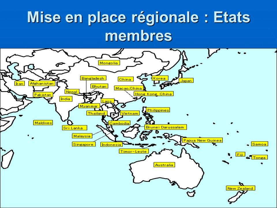 Mise en place régionale : Etats membres