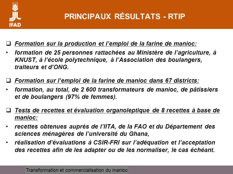 Cassava processing and marketing PRINCIPAUX RÉSULTATS - RTIP Formation sur la production et lemploi de la farine de manioc: formation de 25 personnes