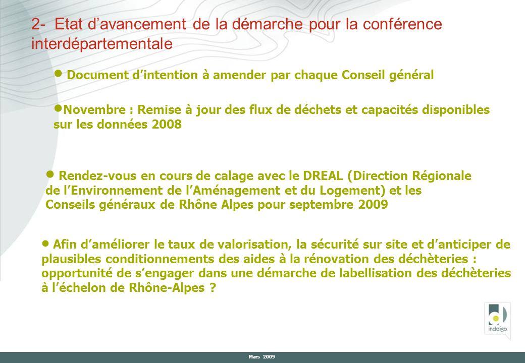 Mars 2009 2- Etat davancement de la démarche pour la conférence interdépartementale Document dintention à amender par chaque Conseil général Novembre