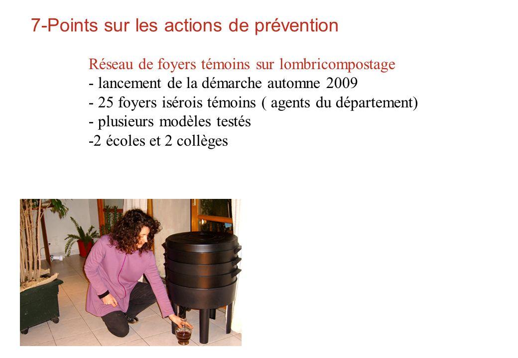 7-Points sur les actions de prévention Réseau de foyers témoins sur lombricompostage - lancement de la démarche automne 2009 - 25 foyers isérois témoi