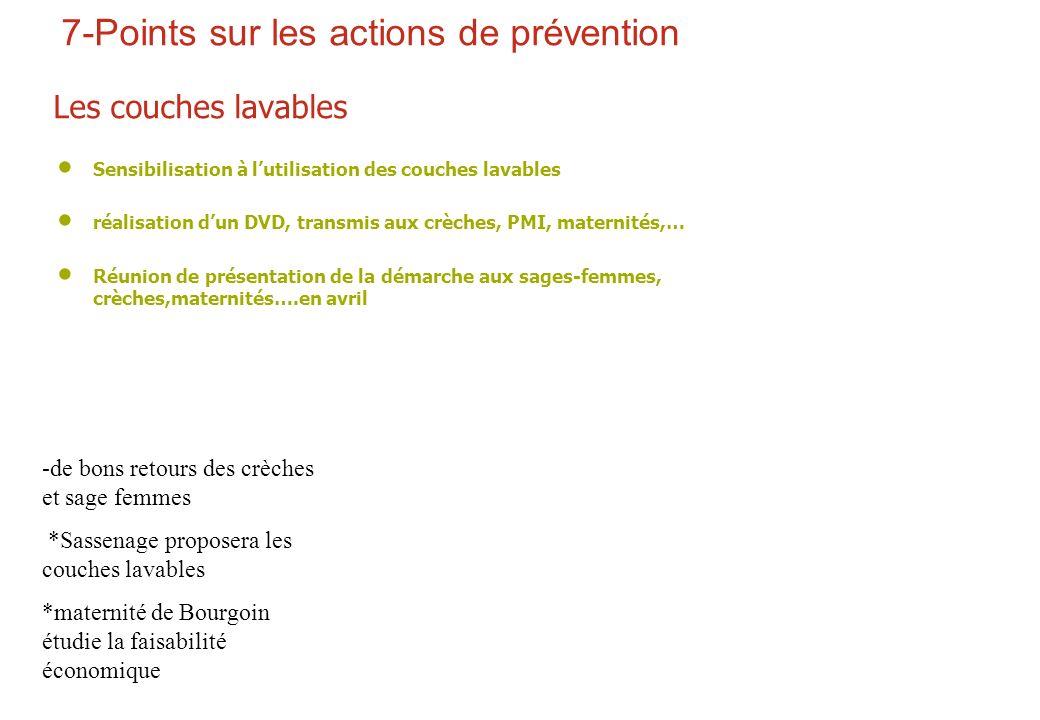7-Points sur les actions de prévention Les couches lavables Sensibilisation à lutilisation des couches lavables réalisation dun DVD, transmis aux crèc