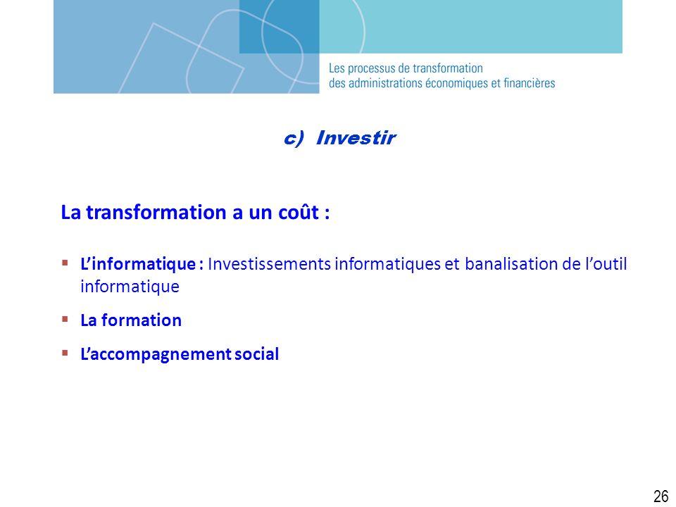 c) Investir La transformation a un coût : Linformatique : Investissements informatiques et banalisation de loutil informatique La formation Laccompagnement social 26