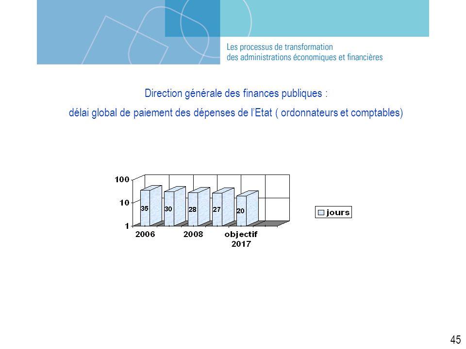 Direction générale des finances publiques : délai global de paiement des dépenses de lEtat ( ordonnateurs et comptables) 45