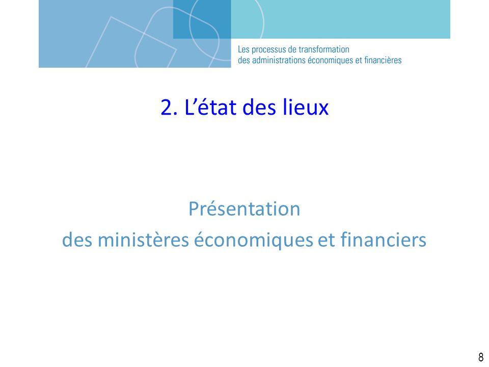 2. Létat des lieux Présentation des ministères économiques et financiers 8