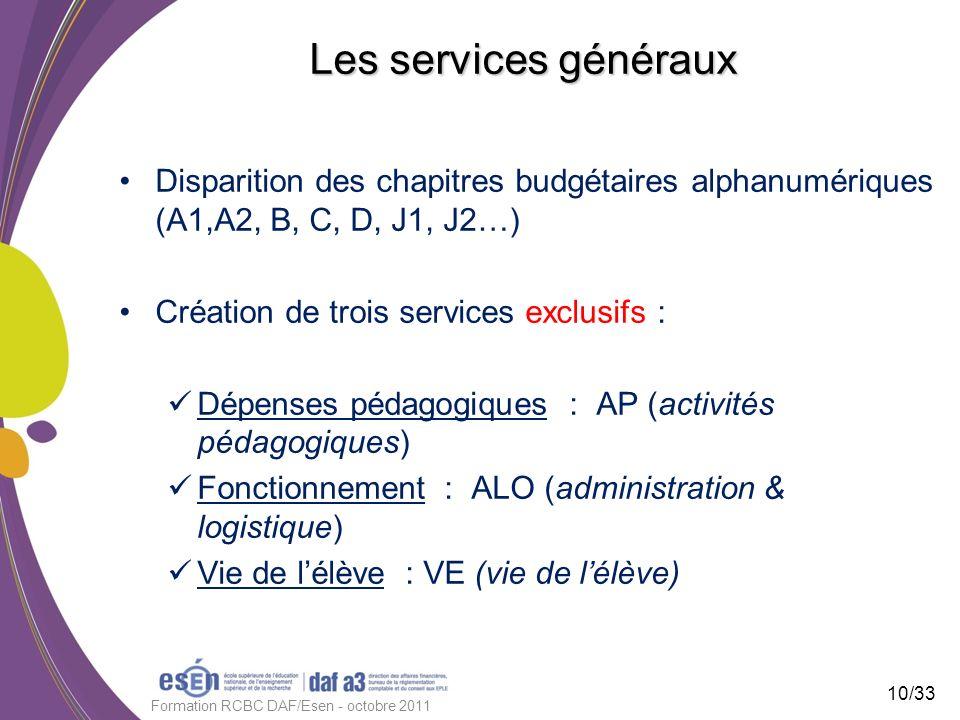 Les services généraux Disparition des chapitres budgétaires alphanumériques (A1,A2, B, C, D, J1, J2…) Création de trois services exclusifs : Dépenses