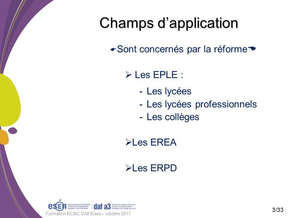 Champs dapplication Sont concernés par la réforme Les EPLE : -Les lycées -Les lycées professionnels -Les collèges Les EREA Les ERPD 3/33 Formation RCB