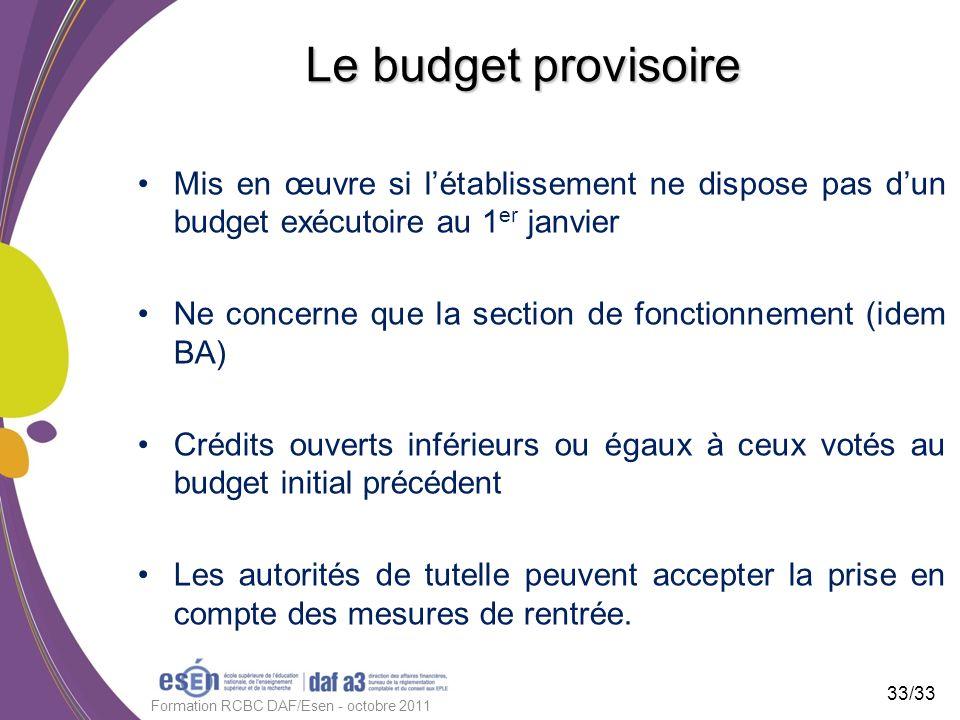 Le budget provisoire Mis en œuvre si létablissement ne dispose pas dun budget exécutoire au 1 er janvier Ne concerne que la section de fonctionnement
