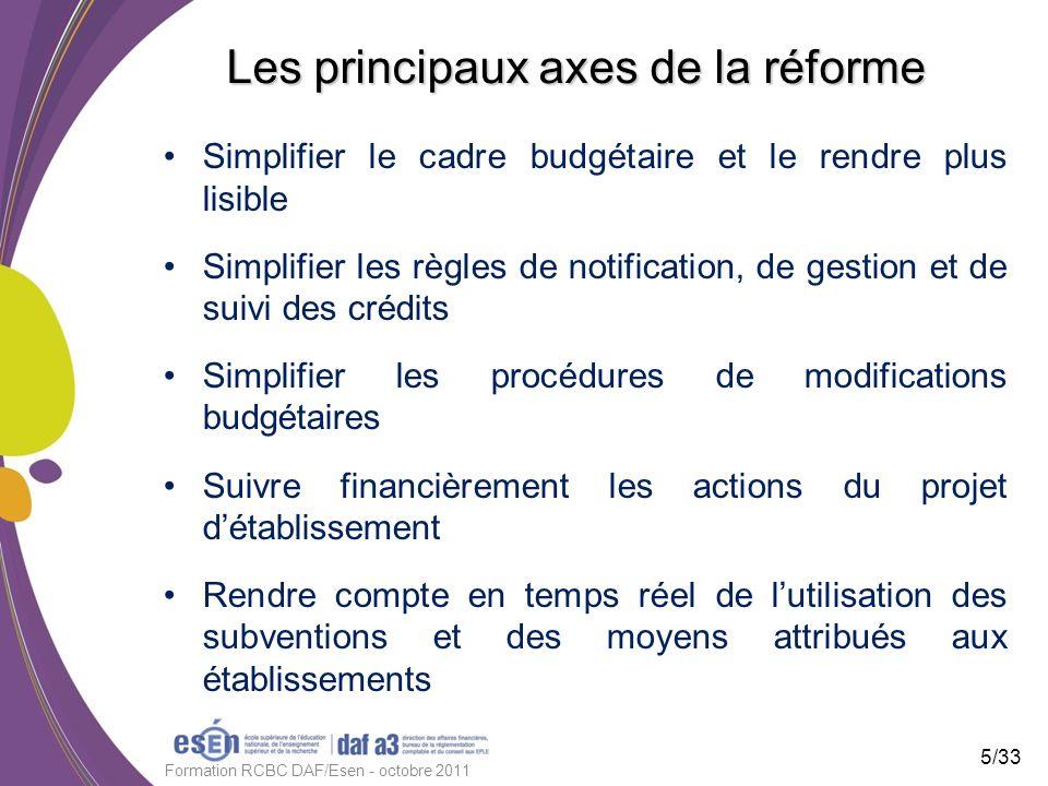 Les principaux axes de la réforme Simplifier le cadre budgétaire et le rendre plus lisible Simplifier les règles de notification, de gestion et de sui