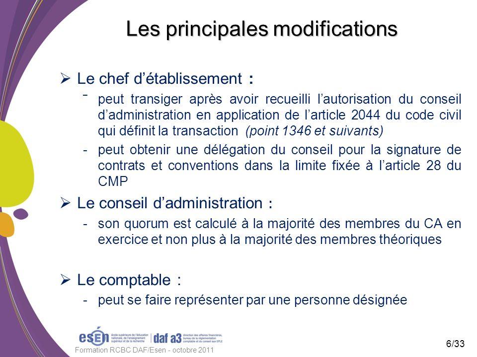Les principales modifications Le chef détablissement : ˉ peut transiger après avoir recueilli lautorisation du conseil dadministration en application