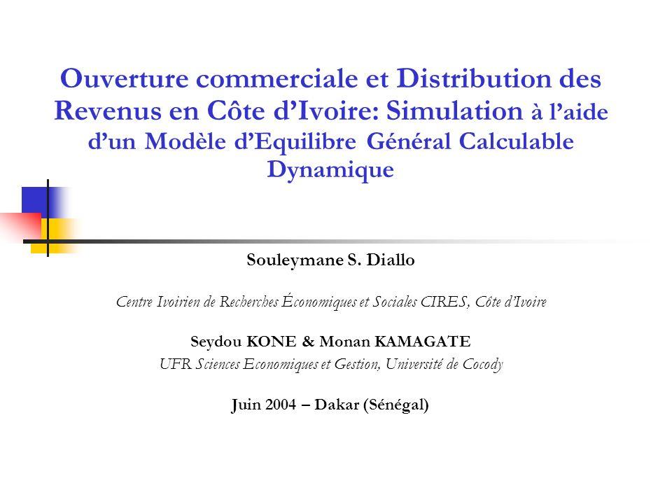 Ouverture commerciale et Distribution des Revenus en Côte dIvoire: Simulation à laide dun Modèle dEquilibre Général Calculable Dynamique Souleymane S.