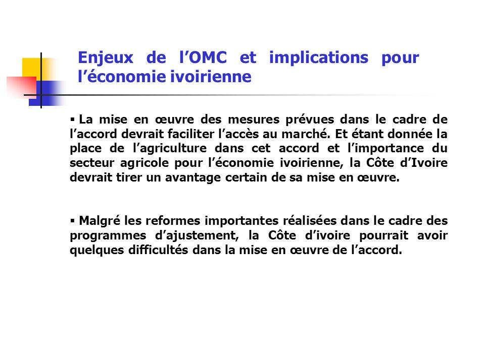 Enjeux de lOMC et implications pour léconomie ivoirienne La mise en œuvre des mesures prévues dans le cadre de laccord devrait faciliter laccès au marché.