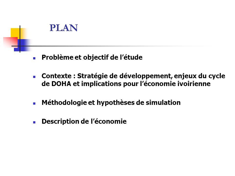 PLAN Problème et objectif de létude Contexte : Stratégie de développement, enjeux du cycle de DOHA et implications pour léconomie ivoirienne Méthodolo