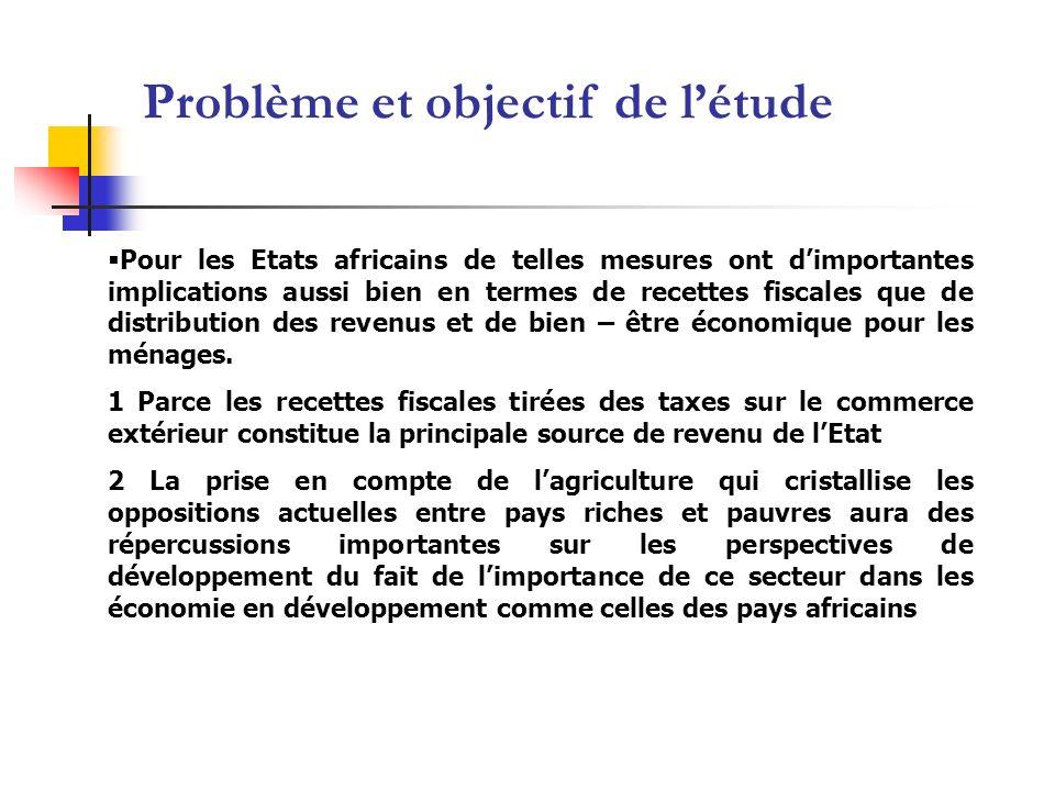 Pour les Etats africains de telles mesures ont dimportantes implications aussi bien en termes de recettes fiscales que de distribution des revenus et de bien – être économique pour les ménages.
