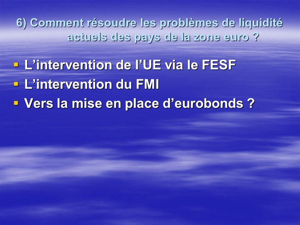 6) Comment résoudre les problèmes de liquidité actuels des pays de la zone euro ? Lintervention de lUE via le FESF Lintervention du FMI Vers la mise e