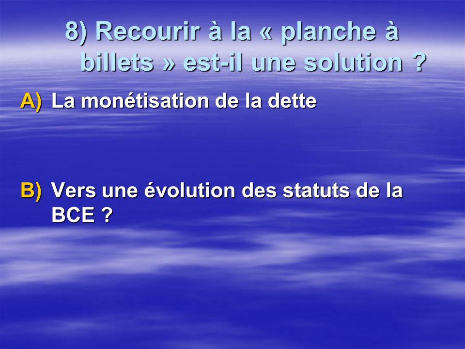 8) Recourir à la « planche à billets » est-il une solution ? A)La monétisation de la dette B)Vers une évolution des statuts de la BCE ?