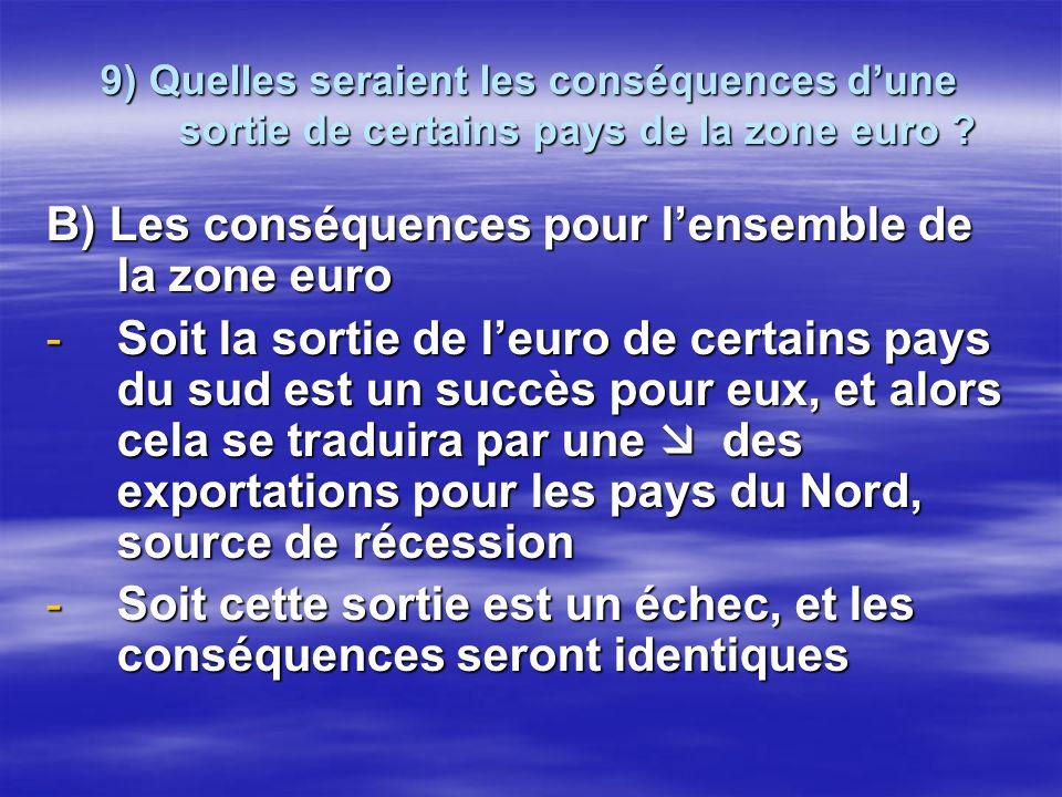 B) Les conséquences pour lensemble de la zone euro -S-S-S-Soit la sortie de leuro de certains pays du sud est un succès pour eux, et alors cela se tra