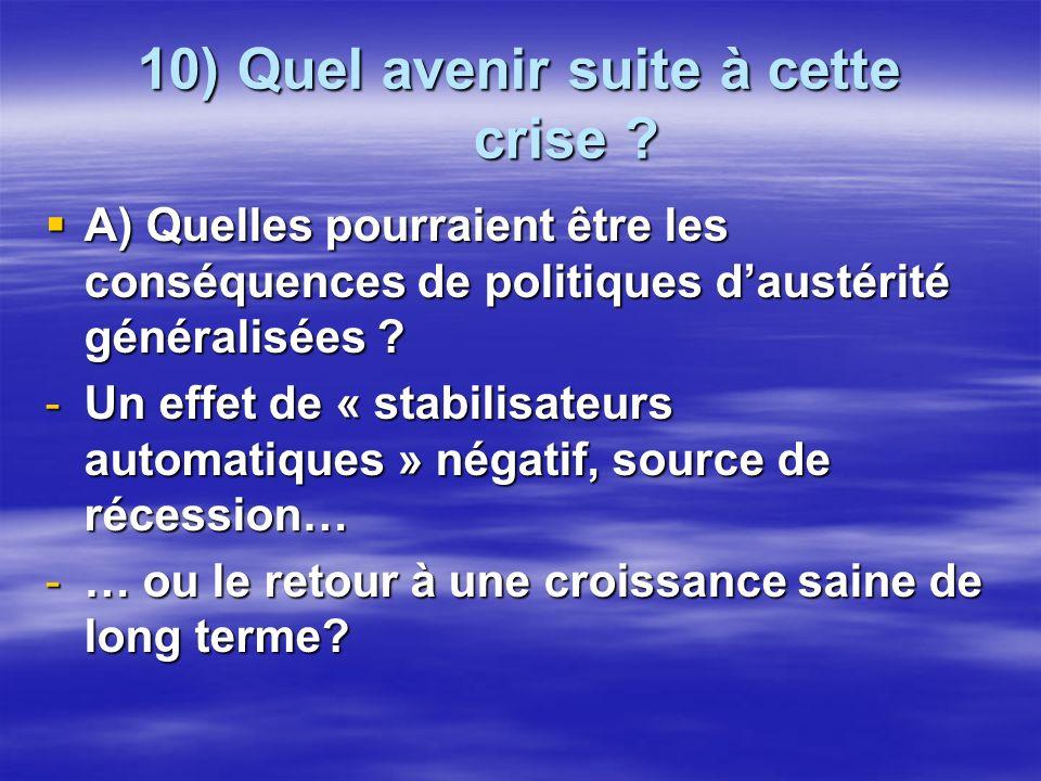10) Quel avenir suite à cette crise ? A) Quelles pourraient être les conséquences de politiques daustérité généralisées ? A) Quelles pourraient être l