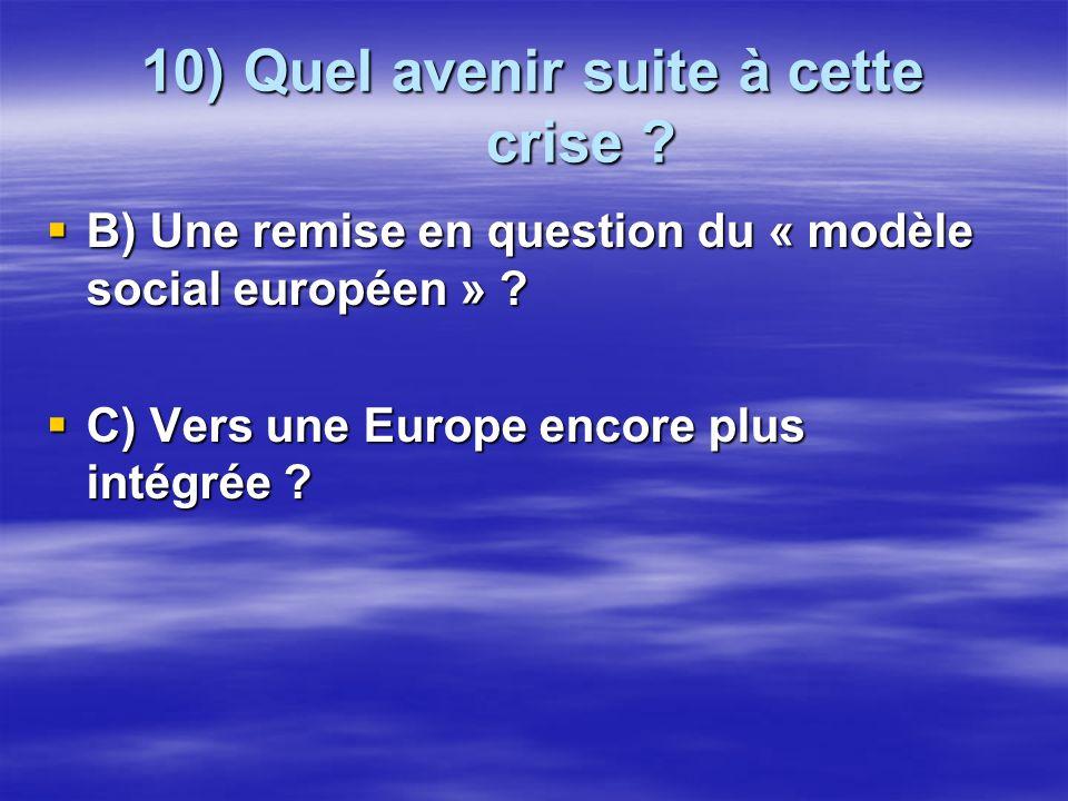 10) Quel avenir suite à cette crise ? B) Une remise en question du « modèle social européen » ? B) Une remise en question du « modèle social européen
