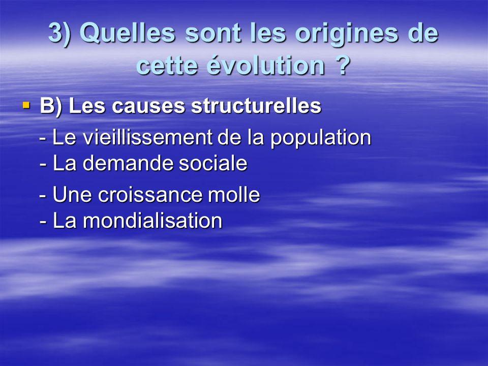 3) Quelles sont les origines de cette évolution ? B) Les causes structurelles B) Les causes structurelles - Le vieillissement de la population - La de
