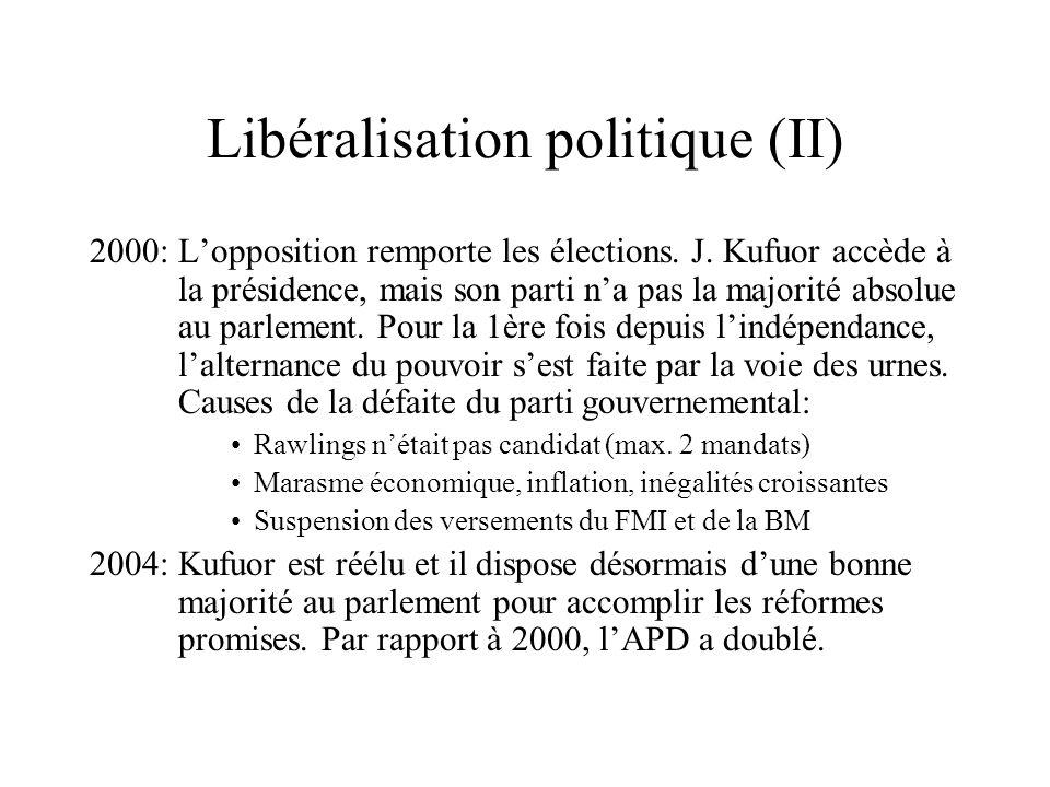 Libéralisation politique (II) 2000: Lopposition remporte les élections. J. Kufuor accède à la présidence, mais son parti na pas la majorité absolue au