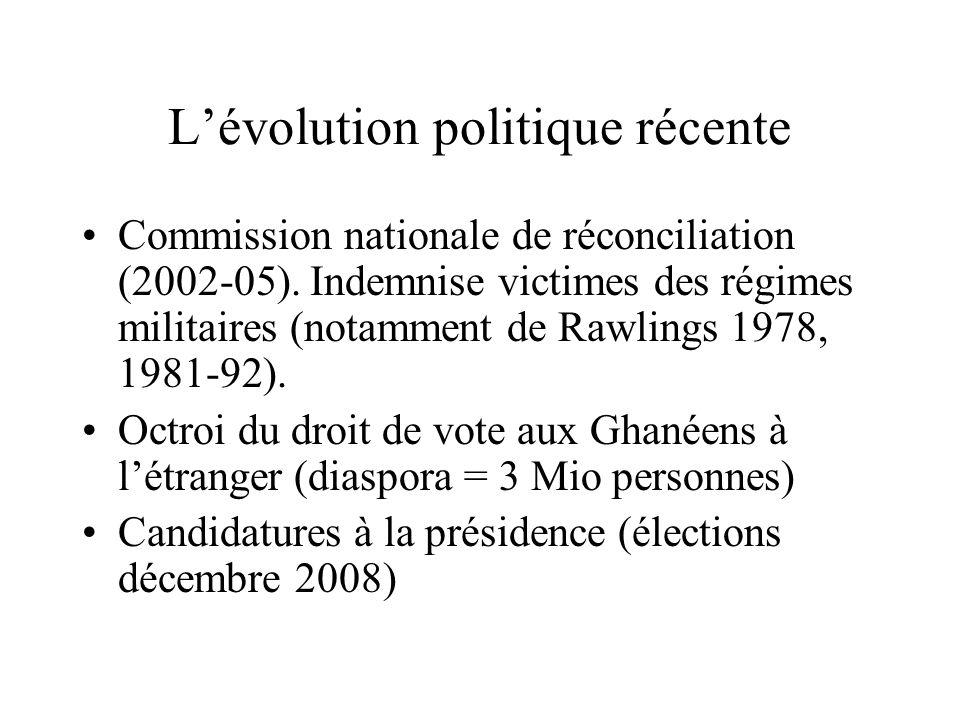 Lévolution politique récente Commission nationale de réconciliation (2002-05). Indemnise victimes des régimes militaires (notamment de Rawlings 1978,