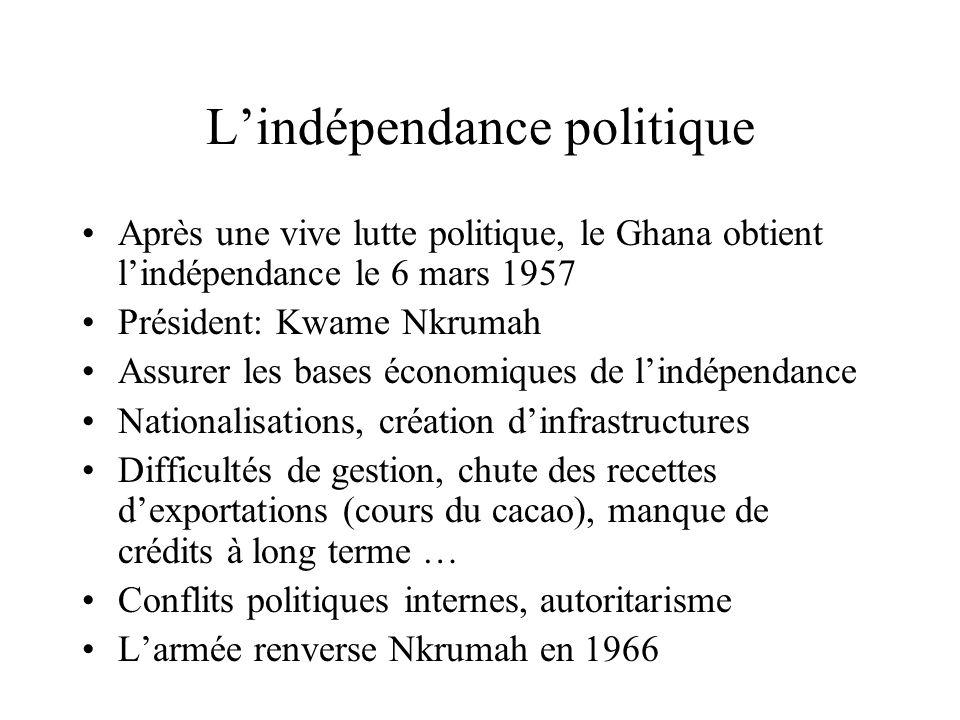 Lindépendance politique Après une vive lutte politique, le Ghana obtient lindépendance le 6 mars 1957 Président: Kwame Nkrumah Assurer les bases économiques de lindépendance Nationalisations, création dinfrastructures Difficultés de gestion, chute des recettes dexportations (cours du cacao), manque de crédits à long terme … Conflits politiques internes, autoritarisme Larmée renverse Nkrumah en 1966
