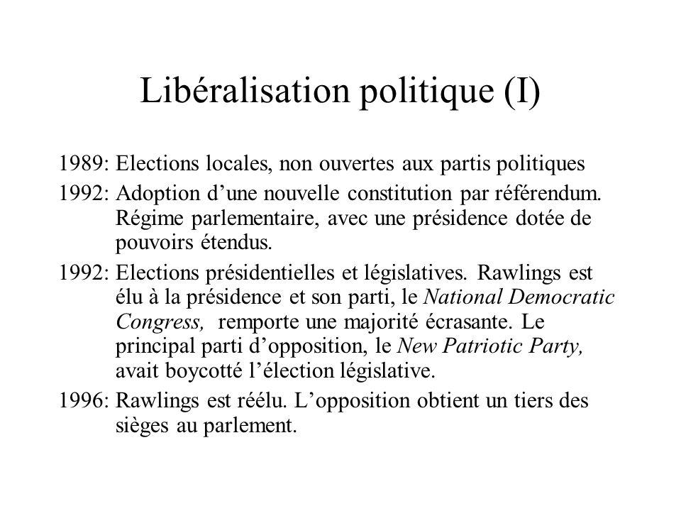 Libéralisation politique (I) 1989: Elections locales, non ouvertes aux partis politiques 1992: Adoption dune nouvelle constitution par référendum. Rég