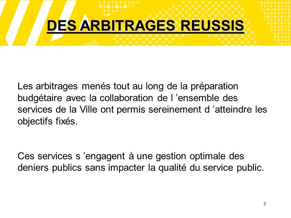 3 DES ARBITRAGES REUSSIS Les arbitrages menés tout au long de la préparation budgétaire avec la collaboration de l ensemble des services de la Ville ont permis sereinement d atteindre les objectifs fixés.