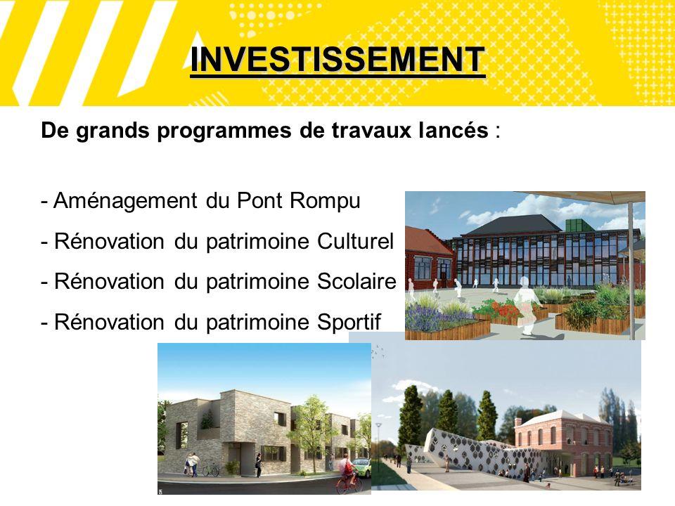 8 INVESTISSEMENT De grands programmes de travaux lancés : - Aménagement du Pont Rompu - Rénovation du patrimoine Culturel - Rénovation du patrimoine Scolaire - Rénovation du patrimoine Sportif