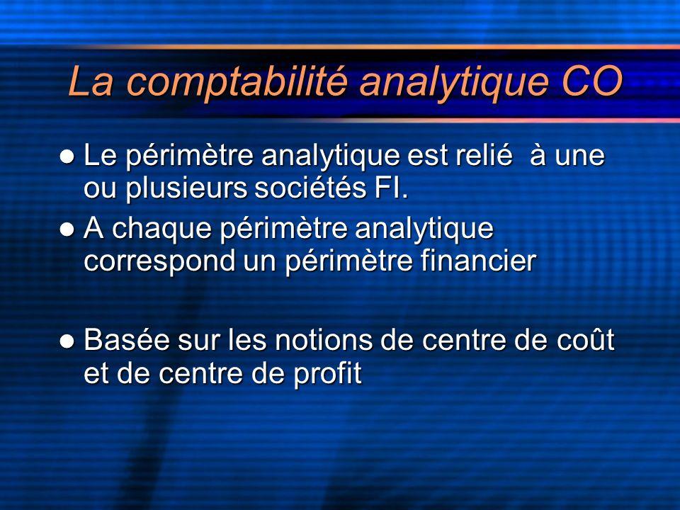 La comptabilité analytique CO Le périmètre analytique est relié à une ou plusieurs sociétés FI.