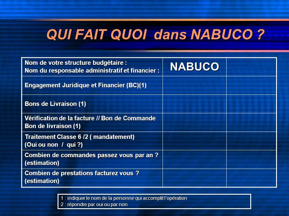 QUI FAIT QUOI dans NABUCO .