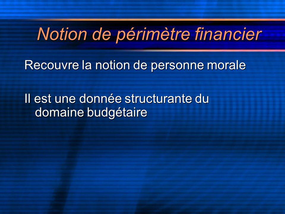 Notion de périmètre financier Recouvre la notion de personne morale Il est une donnée structurante du domaine budgétaire