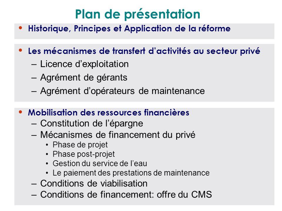 Plan de présentation Les mécanismes de transfert dactivités au secteur privé –Licence dexploitation –Agrément de gérants –Agrément dopérateurs de main